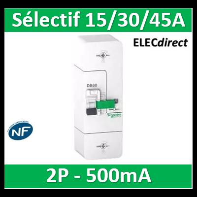 Schneider - Resi9 DB60 - Disjoncteur Branchement - 1P+N - 15/30/45A 500mA - selectif R9FS645
