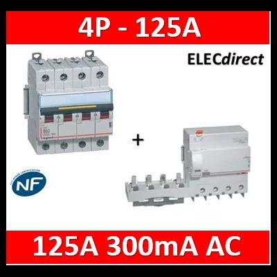 Legrand - Disjoncteur 16kA 4P - 400V~ - 125A - courbe C + bloc dif. 125A 300mA AC - 409364+410628