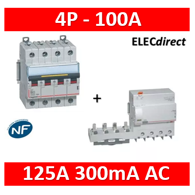 Legrand - Disjoncteur - 100A 4P 16kA - courbe C - 6M + bloc dif. 125A 300mA AC - 409363+410628