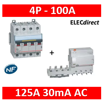 Legrand - Disjoncteur - 100A 4P 16kA - courbe C - 6M + bloc dif. 125A 30mA AC - 409363+410624