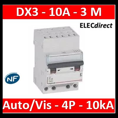 Legrand - Disjoncteur DX³ 6000 - auto/vis- 4P- 400V - 10A - courbeC-peigne HX³ opti 4P - 3M - 407913