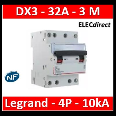 Legrand - Disjoncteur 4P DX3 32A - 10kA - courbe C - 407910