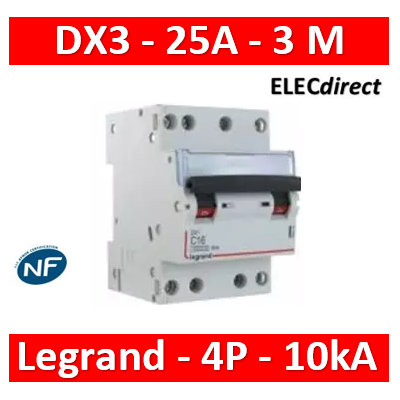 Legrand - Disjoncteur 4P DX3 25A - 10kA - courbe C - 407909