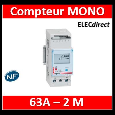Legrand - Compteur modulaire mono EMDX³ non MID raccordement direct 63A - 2 modules - sortie à impulsions - 004672