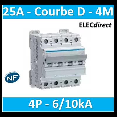 Hager - Disjoncteur 4P 6/10kA D-25A 4M - NGN425
