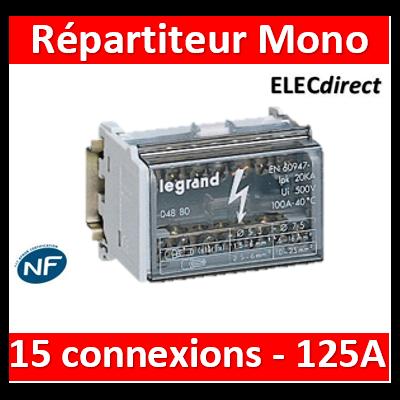 Legrand - Répartiteur modulaire monobloc bipolaire à bornes 125A - 15 connexions par barreau - 8M - 004882