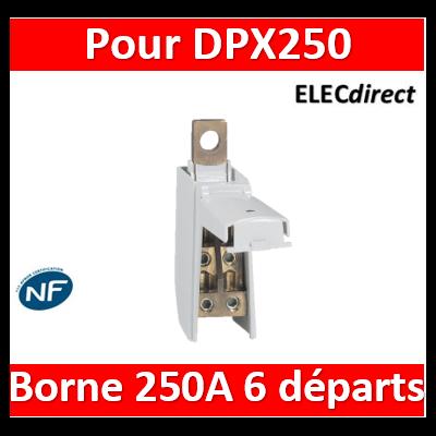 Borne de répartition 250A pour DPX³250 ou DPX250 avec 4 départs 35mm² souple et 2 départs 25mm² souple - 004868
