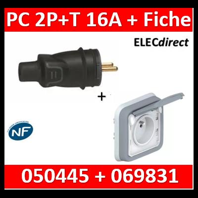 Legrand - Fiche 2P+T 16A IP44 sortie droite + PC 2P+T 16A Plexo encastré - 050445+069831