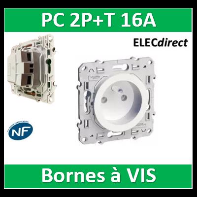 Schneider Odace - Prise de courant connexion à VIS - 2P+T 16A - 250V - S520039