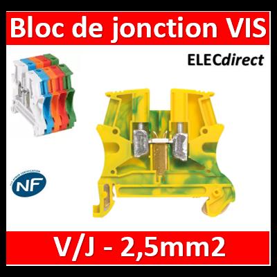 Legrand - Bloc de jonction Viking 3 à vis - 1 jonction/1 entrée/1 sortie - V/J - pas 5 - 037170