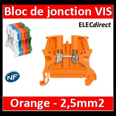 Legrand - Bloc de jonction Viking 3 à vis - 1 jonction/1 entrée/1 sortie - Orange - pas 5 - 037120
