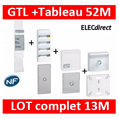 Legrand - GTL 13 + tableau 52M + VDI 8RJ45 + platine + porte transparente