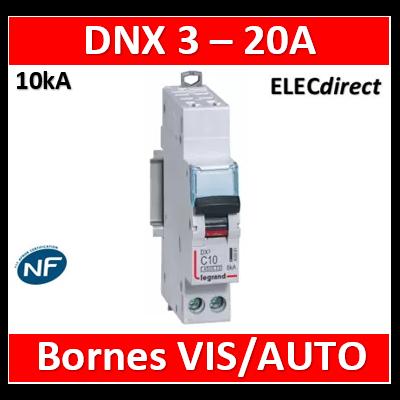 DISJONCTEUR LEGRAND DNX3 PH/N 20A - AUTO/VIS - 10kA - 407717