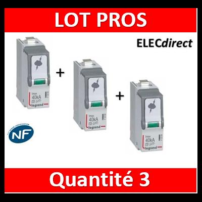Legrand - Cassette de remplacement pour parafoudres T2/40 kA - 412299x3