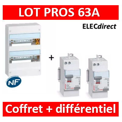 Legrand - LOT PROS - largeur 355mm - coffret 36M (2x18) 63A - 401222+411650+411651