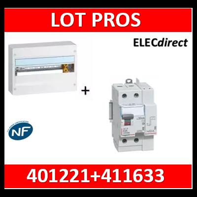 Legrand - LOT PROS - Coffret DRIVIA 18M + dif 63A AC 30mA - 401221+411633