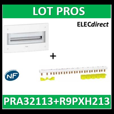 Schneider - Coffret électrique PRAGMA - encastré - 13 modules - 1 rangée de 13M + peignes - PRA32113+R9PXH213