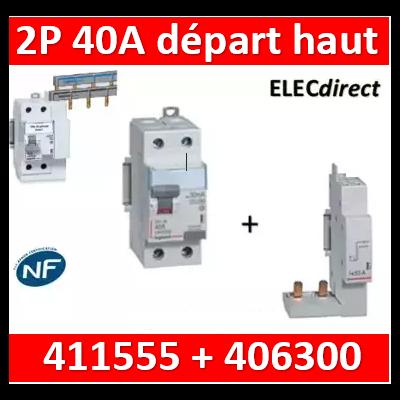 LEGRAND - Interrupteur Différentiel 2P - 40A - 30ma Type A Départ Haut - 411555+406300