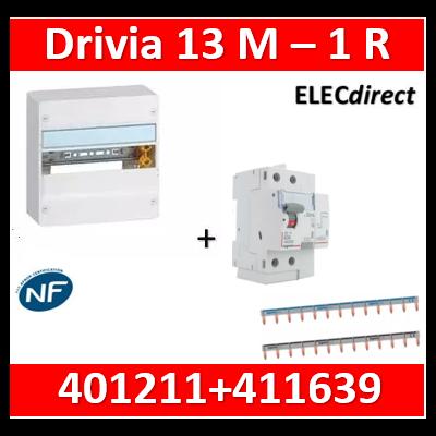 Legrand - LOT PROS - Coffret DRIVIA 13 Modules + différentiel 63A A 30mA - 401211+411639+404926x2
