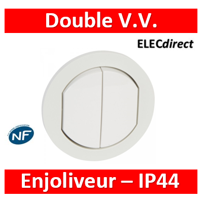 Legrand Céliane - Enjoliveur double allumage blanc - IP44 - 067802