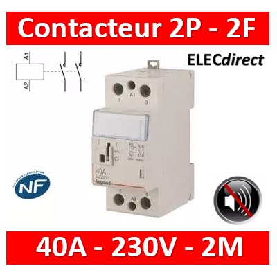Legrand - Contacteur de puissance bipolaire bobine 230V silencieux - 40A - 2F - 2M - 412559