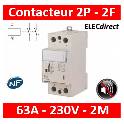 Legrand - Contacteur de puissance bipolaire bobine 230V - 63A - 2F - silencieux - 2M - 412560
