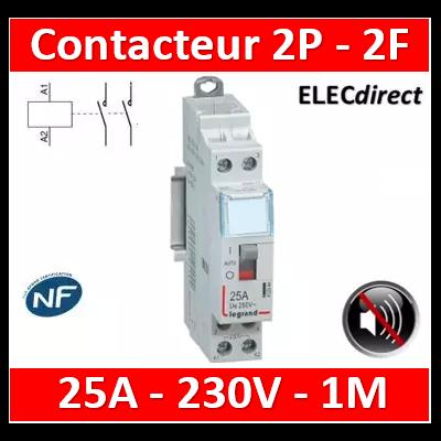 Legrand - Contacteur de puissance bipolaire bobine 230V silencieux - 25A - 2F - 412558
