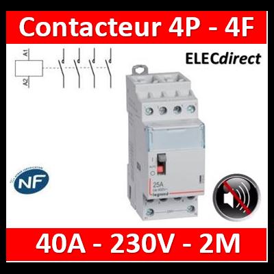 Legrand - Contacteur de puissance 4P bobine 230V silencieux - 25A - 4F - 2M - 412561