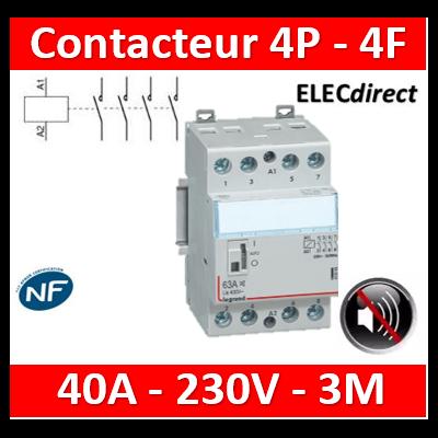 Legrand - Contacteur de puissance 4P bobine 230V silencieux - 40A - 4F - 3M - 412562