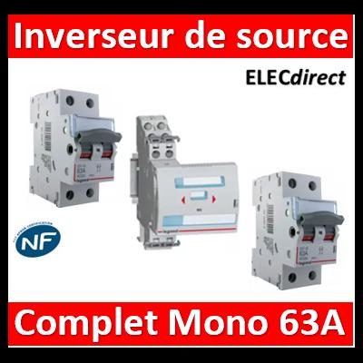 Legrand - Inverseur de sources manuel Mono 2P 63A complet - 406314+406441x2