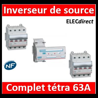 Legrand - Inverseur de sources manuel tetra 4P 63A complet - 406316+406481x2