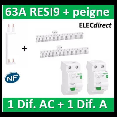 SCHNEIDER - DIF. XE RESI9 + peigne - (1 - ID 2x63A 30mA AC/1 - ID 2x63A 30mA A) - R9ERA263+R9ERC263+R9EXV+R9EXHC13x2