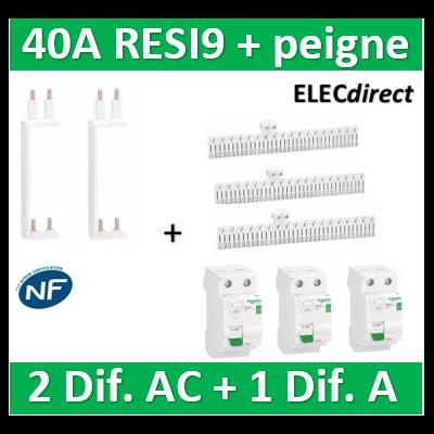 SCHNEIDER - DIF. XE RESI9 + peigne (2 - ID 2x40A 30mA AC/1 - ID 2x40A 30mA A) - R9ERA240+R9ERC240x2+R9EXVx2+R9EXHC13x3