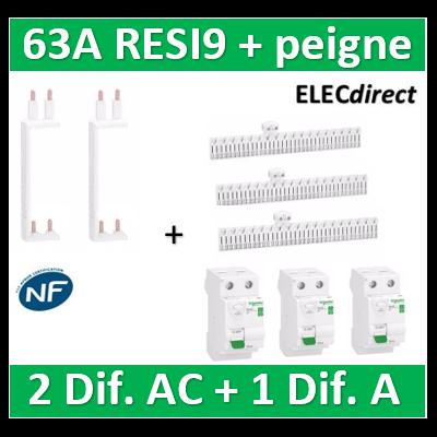 SCHNEIDER - DIF. XE RESI9 + peigne (2 - ID 2x63A 30mA AC/1 - ID 2x63A 30mA A) - R9ERA263+R9ERC263x2+R9EXVx2+R9EXHC13x3