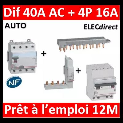 LEGRAND - dif. DX3-ID 4P 40A - 30mA - AC + Module 4P + Peigne 13M + Disj. 4P 16A - 411661+406301+405201+407914