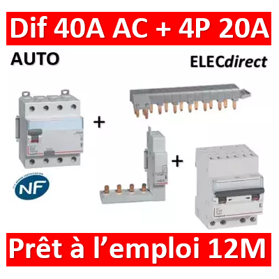 LEGRAND - dif. DX3-ID 4P 40A - 30mA - AC + Module 4P + Peigne 13M + Disj. 4P 20A - 411661+406301+405201+407915