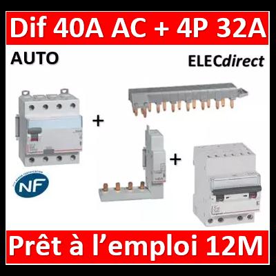 LEGRAND - dif. DX3-ID 4P 40A - 30mA - AC + Module 4P + Peigne 13M + Disj. 4P 32A - 411661+406301+405201+407917