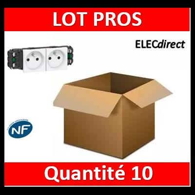 Legrand - Double prise de courant 2P+T Mosaic 4 modules pour goulottes DLP monobloc - blanc - 077302x10