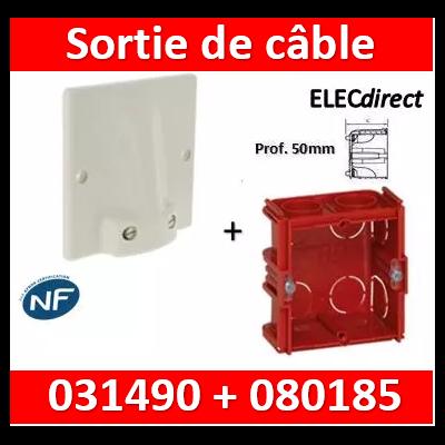 Legrand - Sortie de câble 32A - fixation VIS + boîte 32A - complet  Prof. 50 - 031490+080185