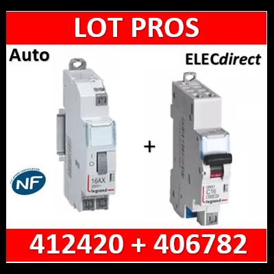 Legrand - Télérupteur CX3 - Unipolaire 16A - 230V - AUTO + DPN 10A - 412420+406782