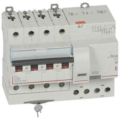 Legrand Disjoncteur différentiel monobloc DX³6000 10kA arrivée haute et départ bas à vis 4P 400V~ - 50A - typeAC 30mA 411191