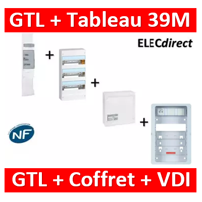 Legrand - Kit GTL 13M complet + tableau 39M + VDI 8RJ45 + support - 030037+401213+413248+413083x4+ZA375C