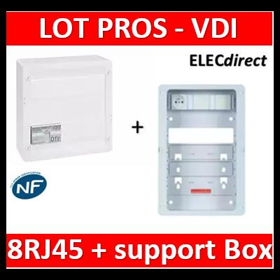 Legrand - Coffret VDI GRADE 2 - 8 RJ45 + support BOX Casanova - 413248+413083x4+ZA375C