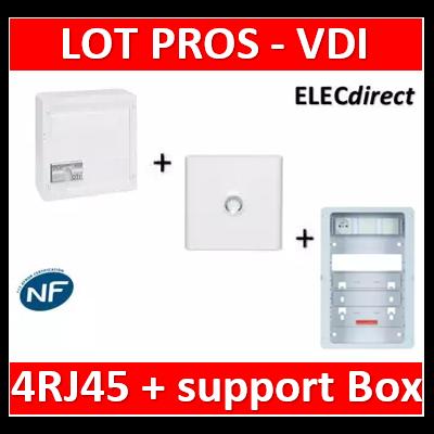 Legrand - Coffret VDI GRADE 2 - 4 RJ45 + Porte + Support Box Casanova - 413248+401331+ZA375C