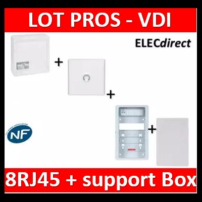Legrand - Coffret VDI GRADE 2 - 8 RJ45 + Porte + Support Box Casanova + porte - 413248+401331+ZA375C+PCST375+413083x4