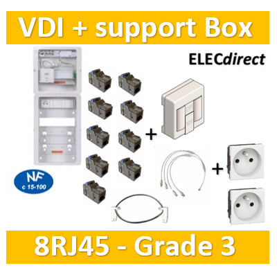 Casanova - Tableau C-Start 625 - 8RJ45 Grade 3 TV équipé DTI + Support Box- 2 coiffes + 2 PC - CST625G3CUC-SLD+ADH30box