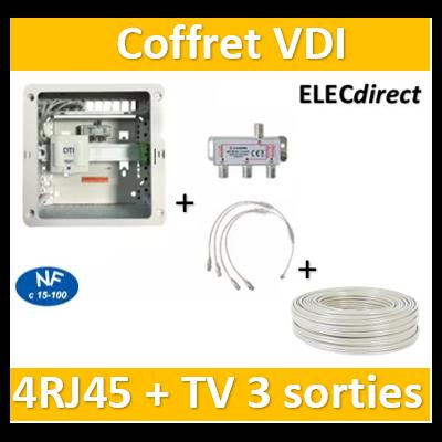 Casanova - Coffret sans porte VDI Grade 1 avec brassage - 4 RJ45 - 3 TV + câble TV 100m- CTRIETG14+cableTV