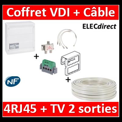 Legrand - Coffret VDI GRADE 2 avec brassage - 4 RJ45 / TV 2 sorties + câble TV - 413248+câbleTV17VATC