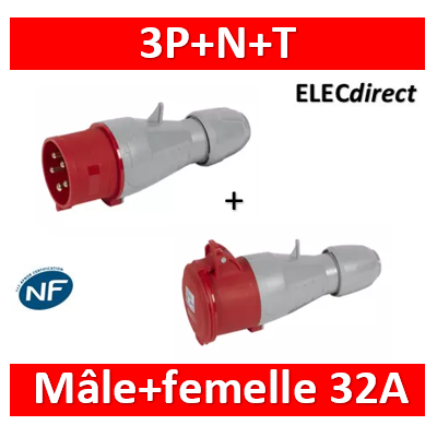 Legrand - Fiche mobile droite P17 IP44 32A - 380V~ à 415V~ - 3P+N+T - mâle+femelle - 555239+555219