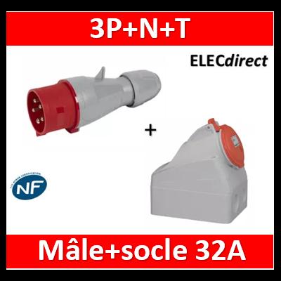 Legrand - Fiche mobile droite P17 IP44 32A - 380V~ à 415V~ - 3P+N+T - Mâle+socle - 555239+555259